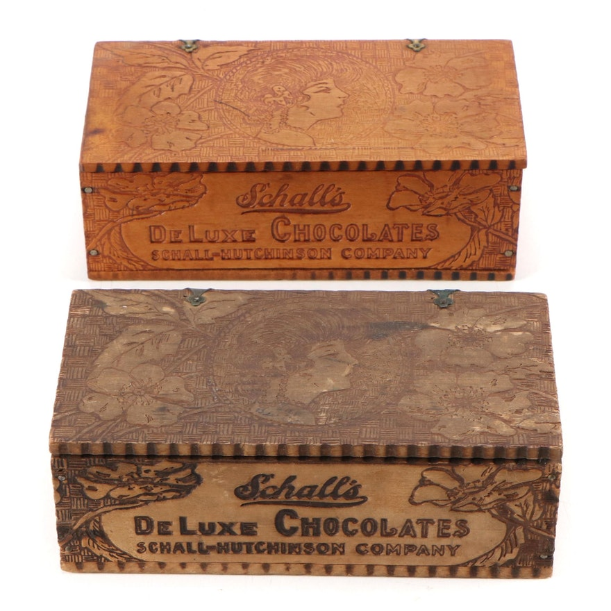 Schall's Deluxe Chocolates Pyrography Wood Boxes, Early 20th Century