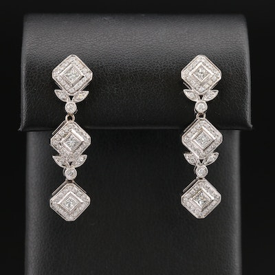18K 1.10 CTW Diamond Foliate Dangle Earrings with Milgrain Detail