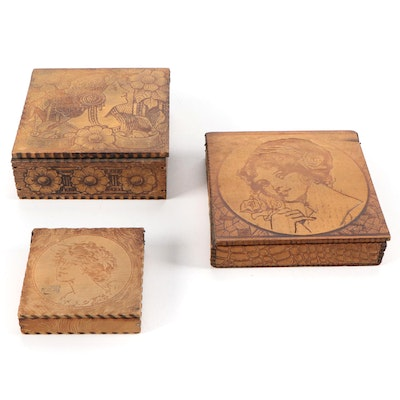 Art Nouveau Pyrography Wooden Boxes, Early 20th Century