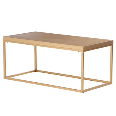 Modernist Style Gold Tone Metal Coffee Table