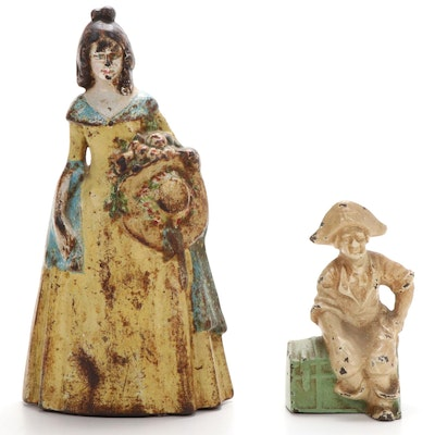 Cast Iron Southern Belle Doorstop and Pirate on Trunk Bookend, Early-Mid 20th C.