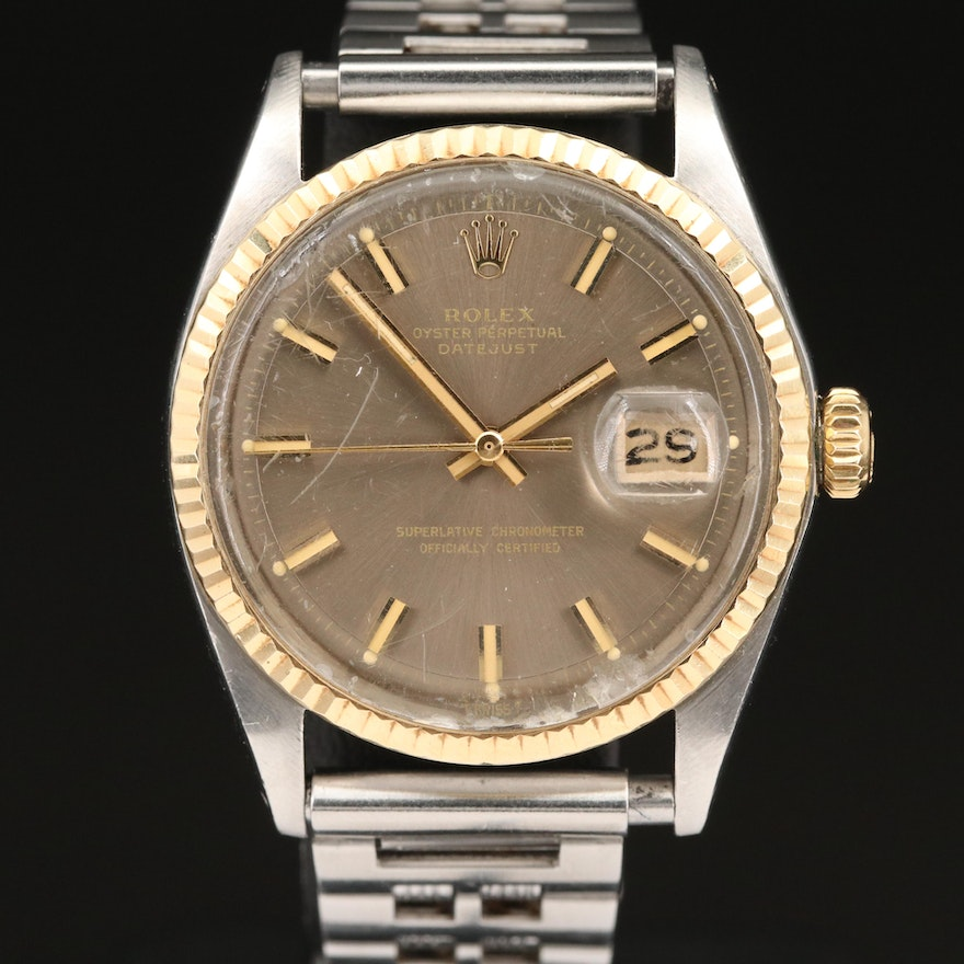 1971 Rolex Datejust 18K and Stainless Steel Wristwatch with Gray Pie Pan Dial
