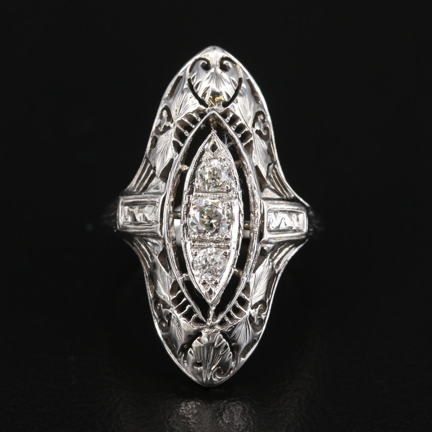 Art Deco 14K Diamond Openwork Navette Ring