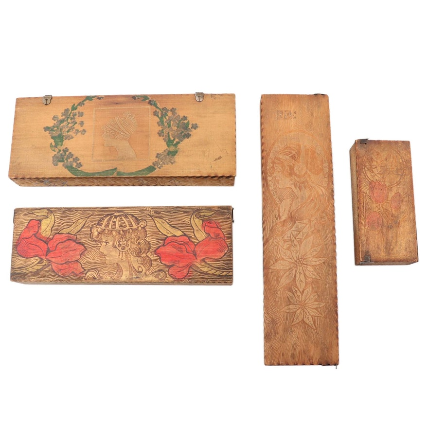 Art Nouveau Style Pyrography Boxes, Early 20th Century