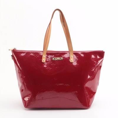 Louis Vuitton Bellevue GM Tote Bag in Pomme D'amour Vernis and Vachetta Leather