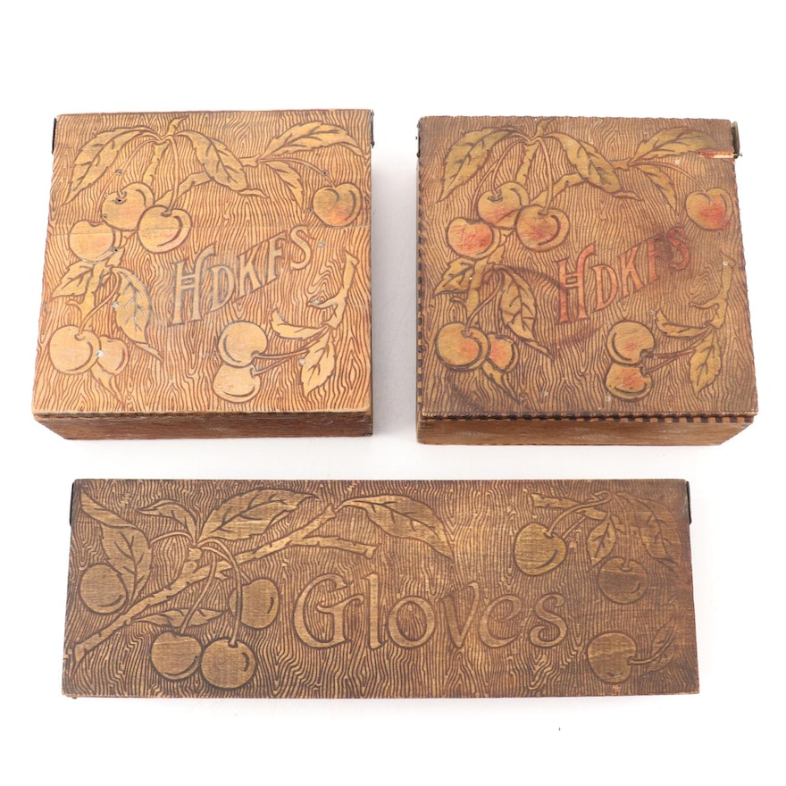 Art Nouveau Pyrography Glove and Handkerchief Boxes, Early 20th Century
