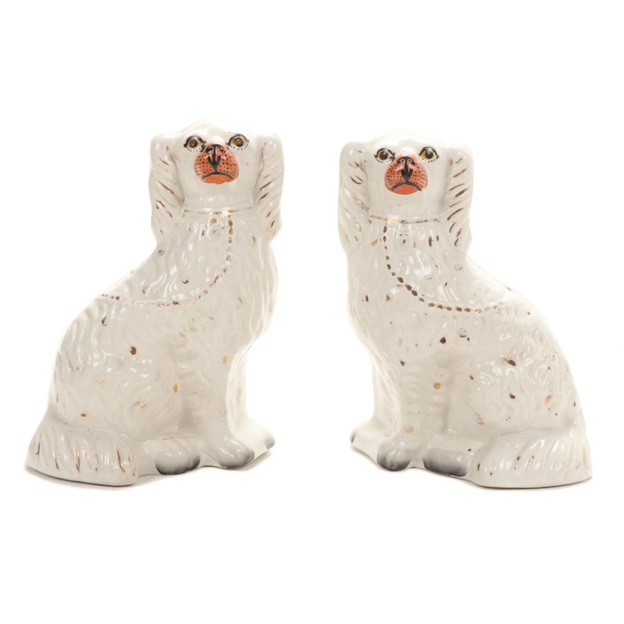 Victorian Staffordshire Ceramic Dogs, Late 19th Century