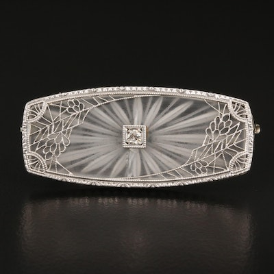 Edwardian Taylor & Co. Platinum Diamond and Rock Crystal Quartz Brooch