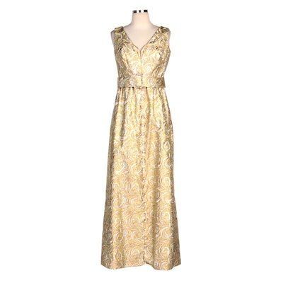 Lee Claire New York Metallic Brocade Rhinestone Belted Sleeveless Evening Dress