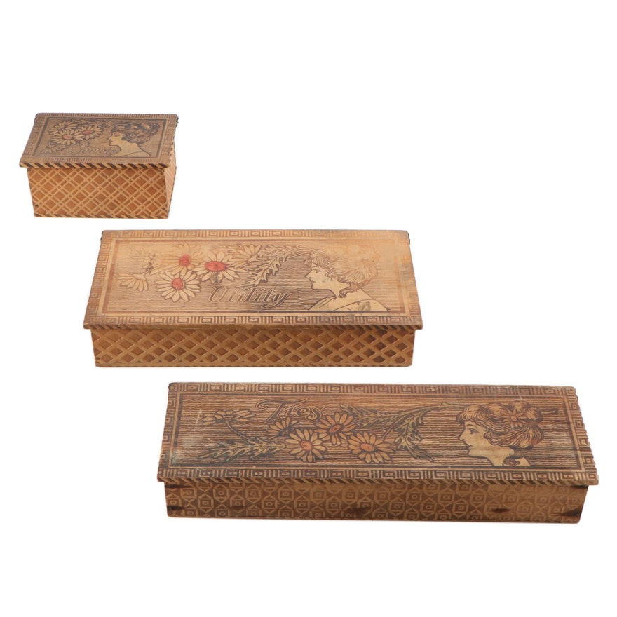 Art Nouveau Pyrography-Decorated Wooden Vanity Boxes