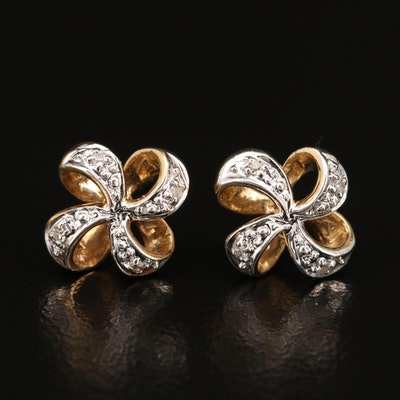 14K Diamond Pinwheel Earrings