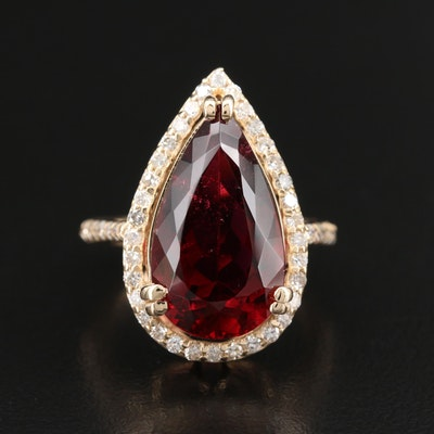 14K 7.61 CT Rubellite Tourmaline and Diamond Ring