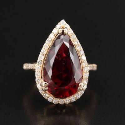 14K 7.61 CT Rubellite Tourmaline and Diamond Ring