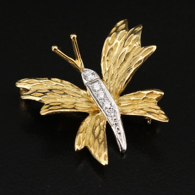 Tiffany & Co. 18K and Platinum Diamond Butterfly Brooch