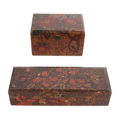 Art Nouveau Style Pyrography Wooden Boxes, Early 20th Century