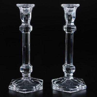 Pair of Crystal Column Candlesticks