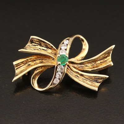 Vintage A. & Z. Chain Company 14K Emerald and Diamond Ribbon Brooch