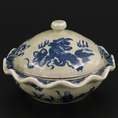 Chinese Qianlong Style Blue and Celadon Glazed Porcelain Covered Dish