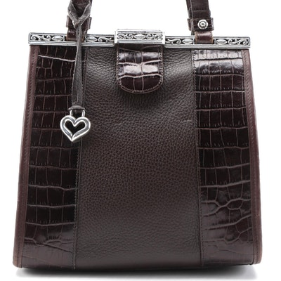 Brighton Two-Way Frame Bag in Brown Croc-Embossed and Grained Leather