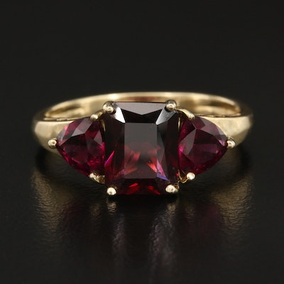 14K Garnet and Rhodolite Garnet Three Stone Ring