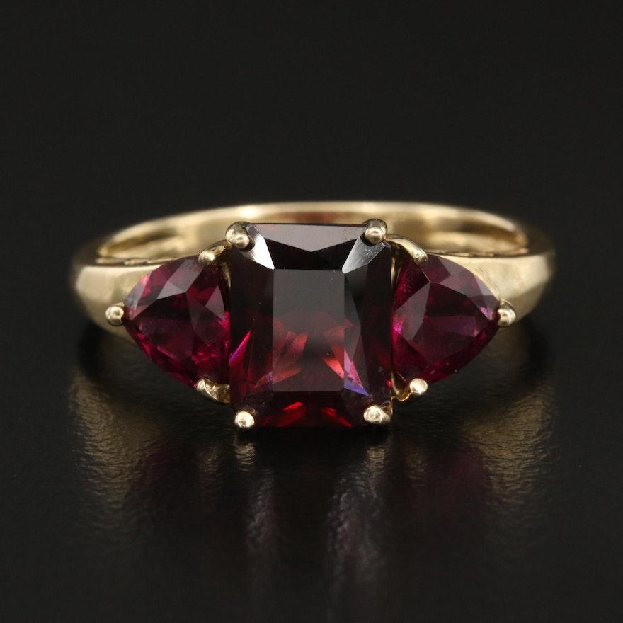 14K Garnet and Rhodolite Garnet Three Stone Ring