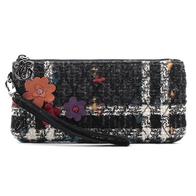 Vera Bradley Quilted Luxe Tweed Wristlet with Beaded Multicolor Floral Appliqués