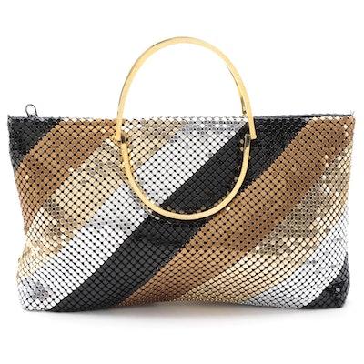 Bags by Michael Diagonal Striped Metal Mesh Handbag