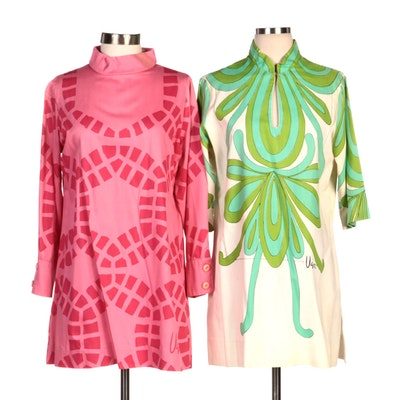 Vera Neumann Printed Mock-Neck Shift Dresses