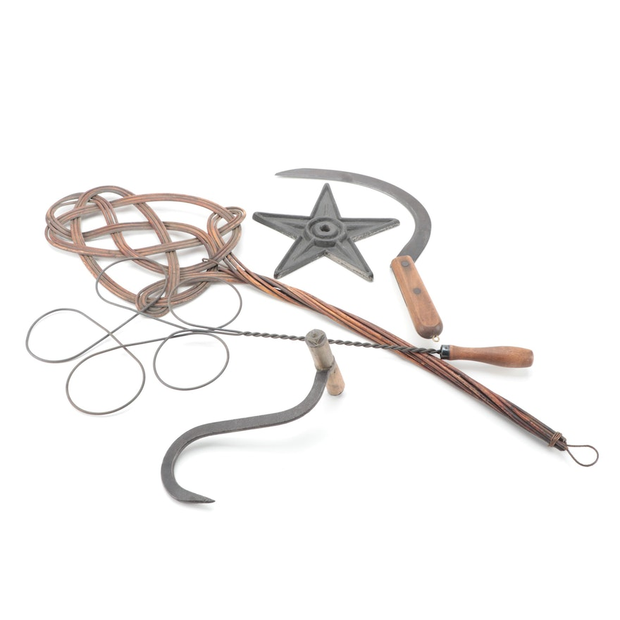 American Primitive Wood and Metal Rug Beaters, Farm Tools, and Five-Point Star