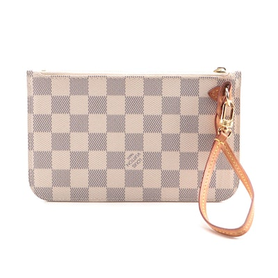 Louis Vuitton Neverfull Pochette in Damier Azur Canvas