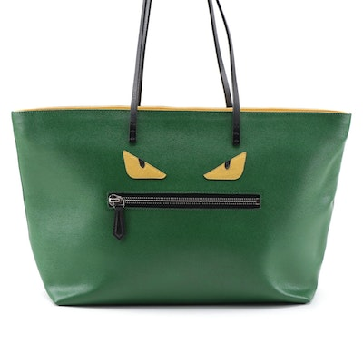 Fendi Monster Green Saffiano Leather Tote Bag