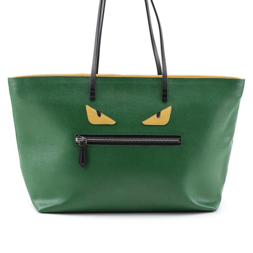 Fendi Monster Green Saffiano Leather Tote Bag