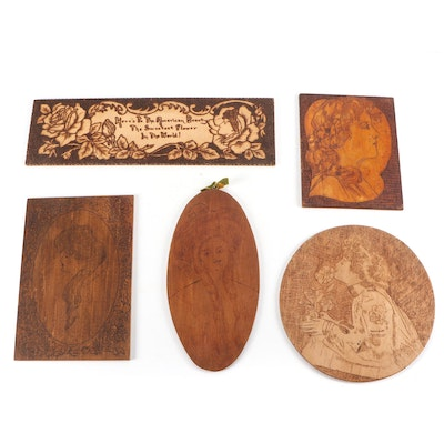 Art Nouveau Pyrography Engraved Wall Plaques, Early 20th Century
