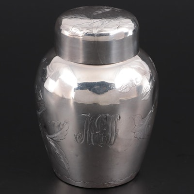 Gorham Chased Sterling Silver Tea Caddy, 1888
