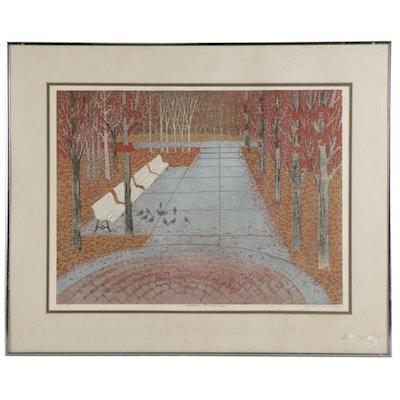"James Kirby Woodcut ""Stockley Gardens"""