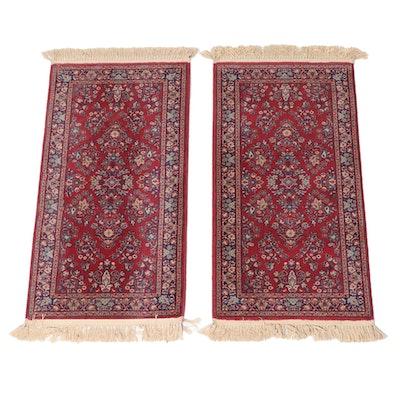 """2'2 x 4'9 Machine Made Karastan Kara Mar """"Rose Sarouk"""" Wool Accent Rugs"""