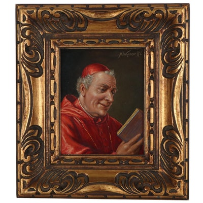 M. Wysocki Oil Portrait of a Cardinal, Late 20th Century