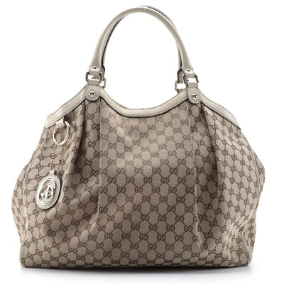 Gucci Sukey GG Canvas and Leather Tote