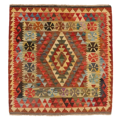 3'3 x 3'6 Handwoven Afghan Kilim Accent Rug