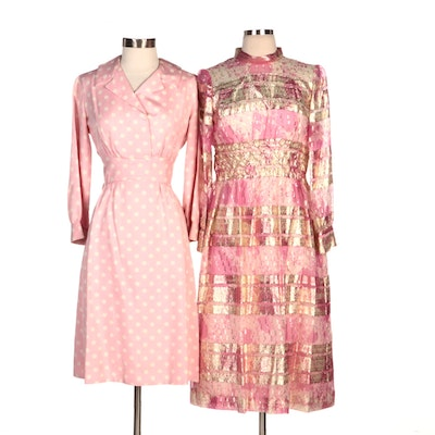 Georgette Trilére Polka Dot Collared Dress and Other Smocked Evening Dress