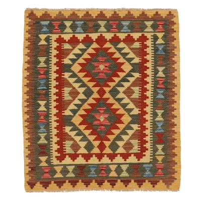 3'1 x 3'8 Handwoven Afghan Kilim Accent Rug