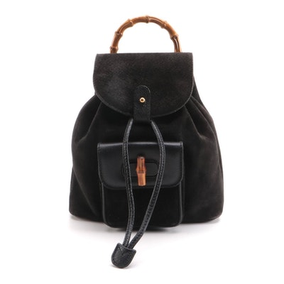 Gucci Bamboo Mini Drawstring Backpack in Black Suede and Leather