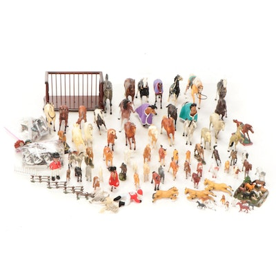 Breyer, Hartland and Other Plastic Horses with Display Shelf and Landscaping