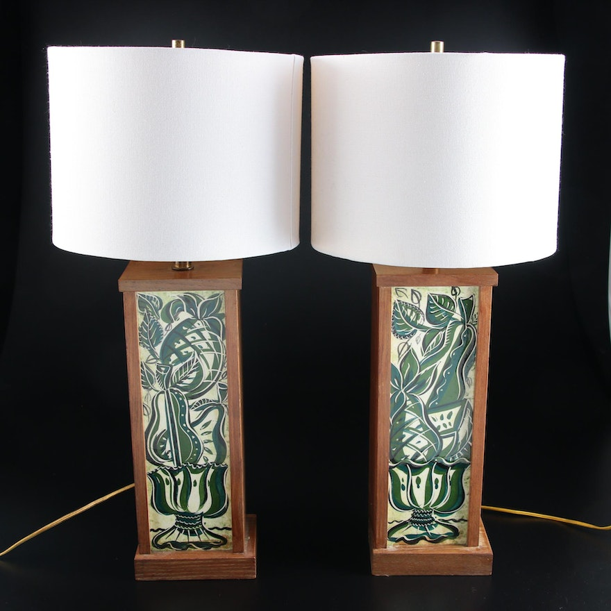 Painted Ceramic Panel Wood Framed Table Lamps, Mid/Late 20th Century