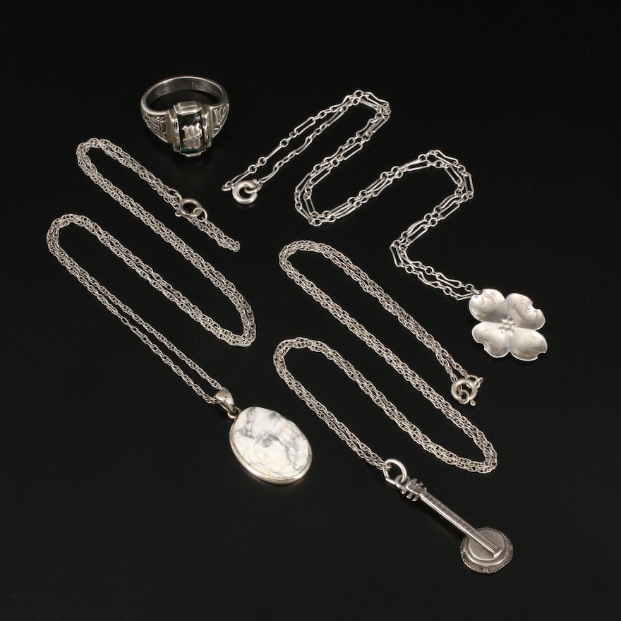 Vintage Sterling Jewelry Selection Featuring Stuart Nye Dogwood Necklace