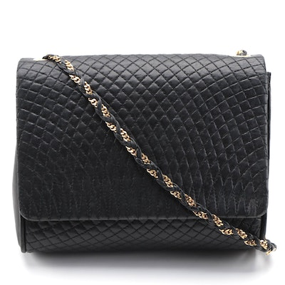 Bally Quilted Black Leather Front Flap Crossbody Bag with Interwoven Chain Strap