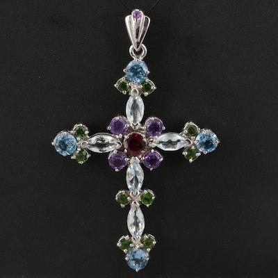 Sterling Cross Pendant Featuring Topaz, Garnet and Amethyst