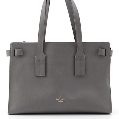 Lanvin en Bleu Grey Saffiano Leather Tote Bag