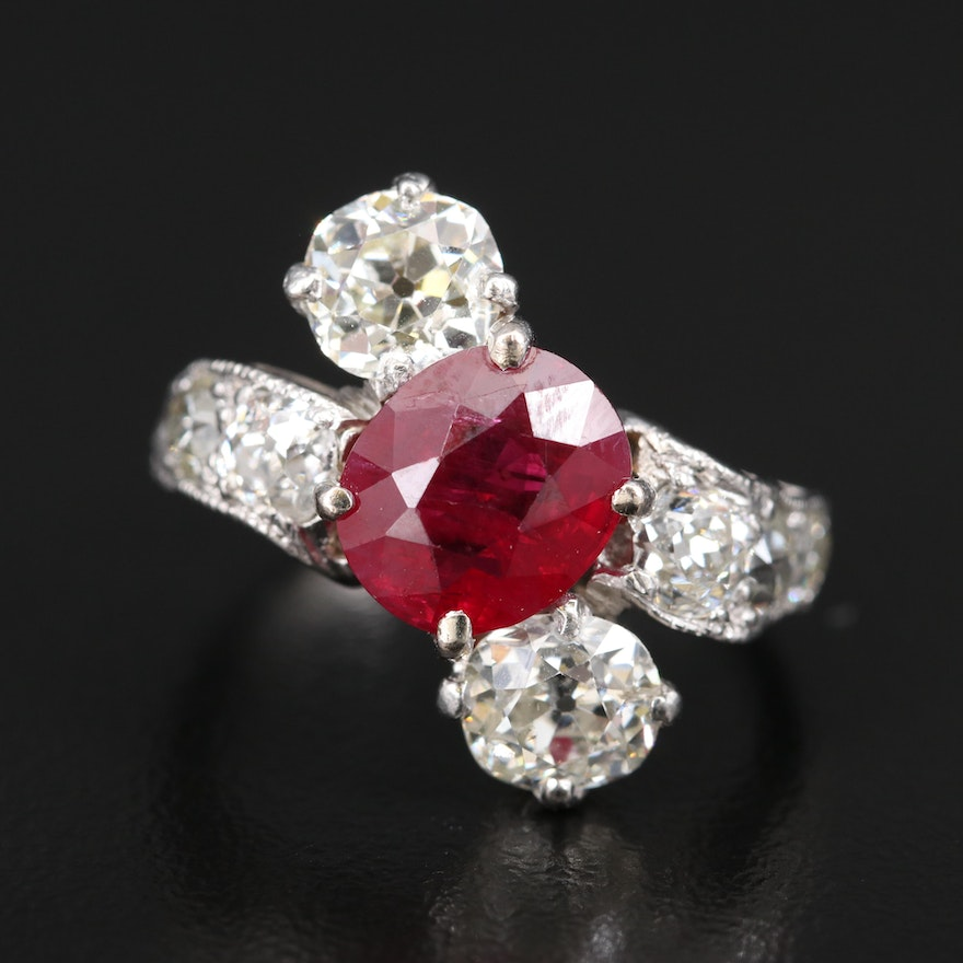 Antique Platinum 2.89 CT Ruby and 2.58 CTW Diamond Bypass Ring
