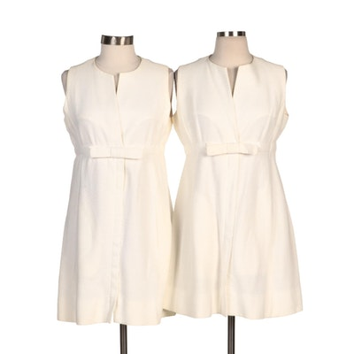 McMullen of Glens Falls, N.Y. White Pique Bow Sleeveless Shift Dresses